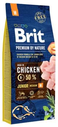 Сухой корм для щенков Brit Premium By Nature Junior M, для средних пород, курица, 15кг