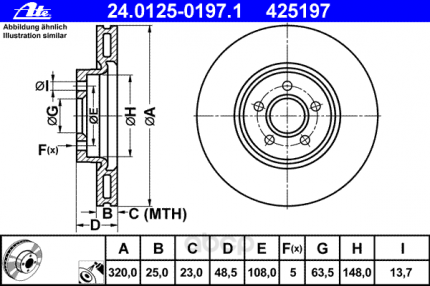 Тормозной диск ATE 24012501971 передний