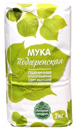 Мука Подгоренская пшеничная хлебопекарная 2 кг