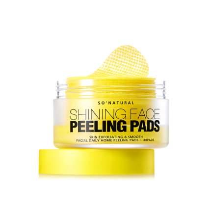 Очищающие салфетки So Natural Shining Face Peelig Pads 80 pads