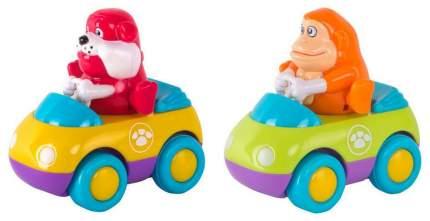 Машинка пластиковая Hap-p-Kid Зверушки на колесиках Обезьянка и бульдог 218G