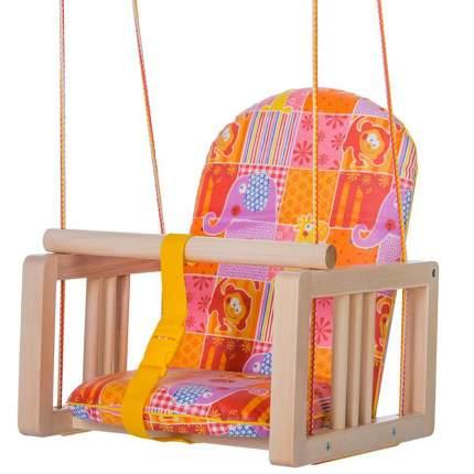 Качели деревянные ГНОМ подвесные мягкое сиденье К-001