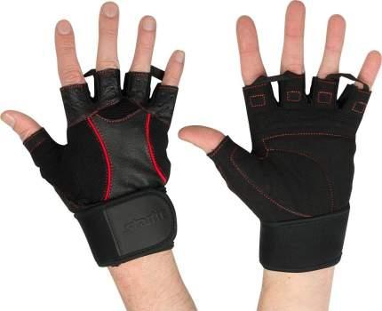 Перчатки для тяжелой атлетики и фитнеса StarFit SU-120, черные/красные, 7,5