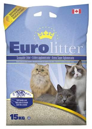 Комкующийся наполнитель для кошек Eurolitter бентонитовый, лаванда, 15 кг