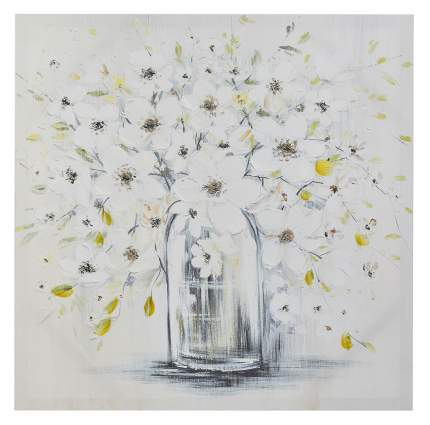 Репродукция 60x60 см Hoff Белые цветы в вазе