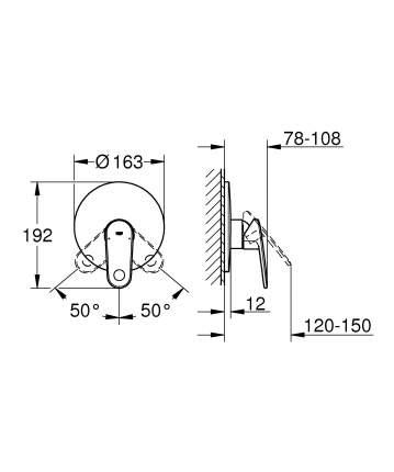 Смеситель для встраиваемой системы Grohe Europlus 19537002 серебристый