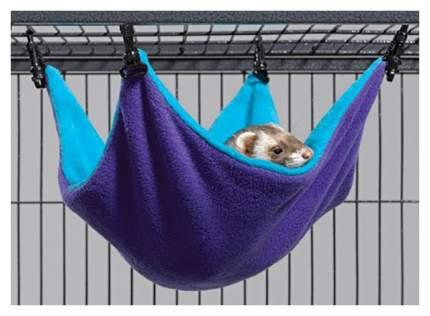 Гамак для хорьков, крыс Midwest утепление текстиль 30x35см фиолетовый, голубой