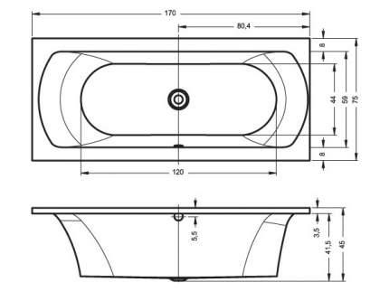 Акриловая ванна Riho Lima 170х75 без гидромассажа