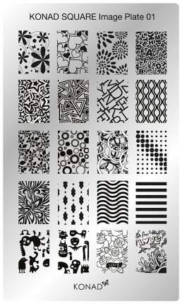 Трафареты для ногтей KONAD Пластина для стемпинга Square Image Plate 01