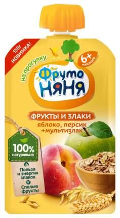 Пюре фруктовое ФрутоНяня Яблоко, персик, мультизлак с 6 мес 130 г