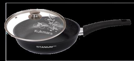 Сковорода антипригарная литая 28см стекляная крышка Titanium pro