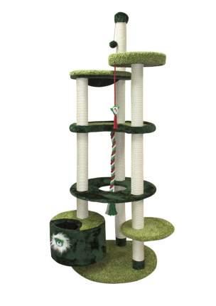 Комлпекс для кошек Зооник, многоуровневый, мех+ковролин, зеленый, 96х84х221см