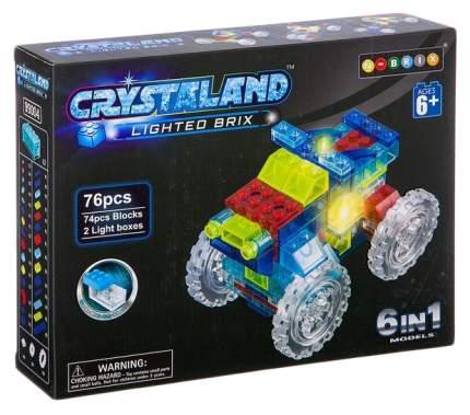 Конструктор пластмас. 76 дет., светящ. c 2-мя LED элементами, CRYSTALAND, автомобиль