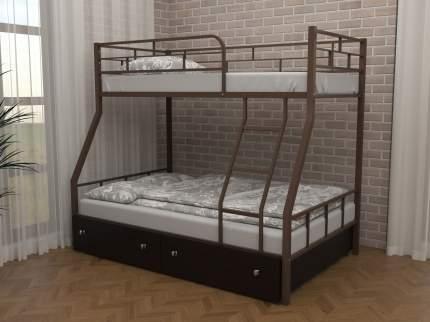 Детская двухъярусная кровать ЧСМФ Раута с ящиками Коричневый, Венге