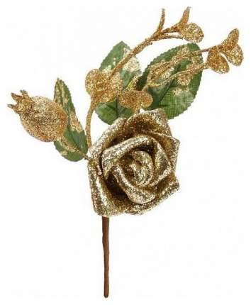 Новогодняя веточка с цветком, 19 см Новогодняя сказка