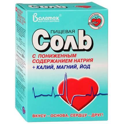Соль Валетек пищевая с пониженным содержанием натрия-калия-магния-йода 350 г