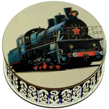 Конфеты чернослив Кремлина шоколадный шкатулка круглая паровоз 400 г
