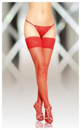 Чулки-Сетка Soft Line с кружевной резинкой красные, M