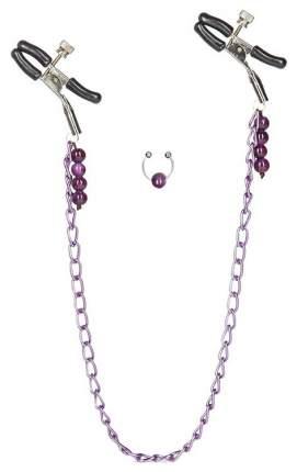 Фиолетовая цепь с зажимами на соски