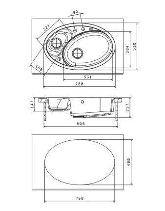 Мойка для кухни гранитная Florentina Селена 780 антрацит