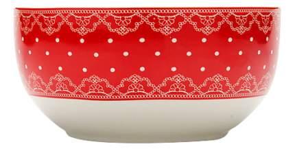 Супница LORAINE Красный в горошек с кружевом 580 мл