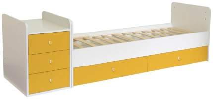 Кровать-трансформер детская Polini Kids Simple 1111 с комодом, Белый/Солнечный