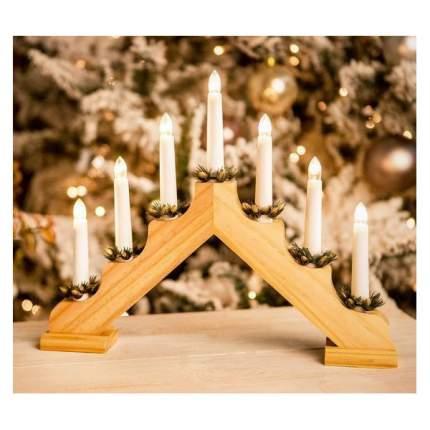 Kaemingk Светильник-горка Кристиан 40*30 см 7 электрических свечей, светлый орех 540429
