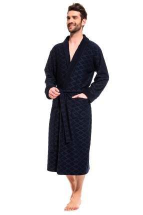 Мужской облегченный махровый халат из бамбука Peche Monnaie 420, синий, XL