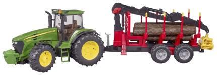 Трактор John Deere, c прицепом, манипулятором и 4 брёвнами