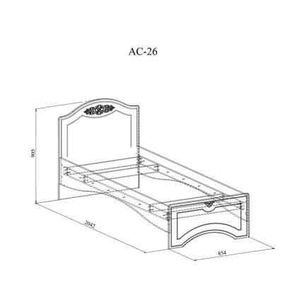 Кровать односпальная Компасс-мебель Ассоль АС-26 80х200 см, белый