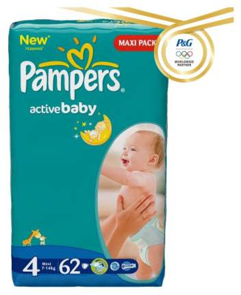 Подгузники Pampers Active Baby Maxi 4 (7-14 кг), 62 шт.