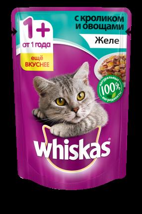 Влажный корм для кошек Whiskas желе с кроликом и овощами, 85 г
