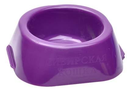 Одинарная миска для кошек Сибирская кошка, пластик, фиолетовый, 0.23 л