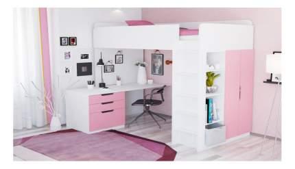 Кровать-чердак Polini Simple с письменным столом и шкафом, белый-роза