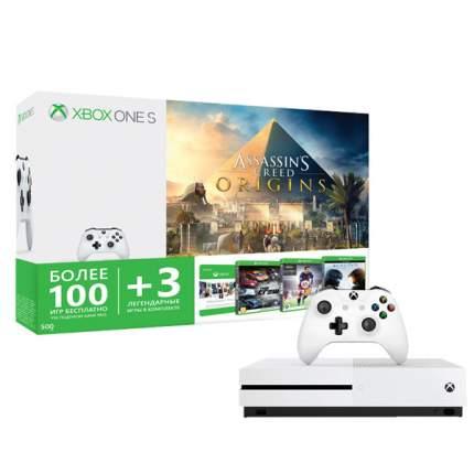 Игровая консоль Microsoft Xbox One S 500Gb +AC Origins + Halo5Guardians +FIFA16+Crew (код)