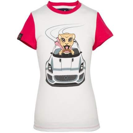 Футболка для девочек Jaguar Girls' Car Graphic T-Shirt, White/Pink, артикул JDTC813WTO