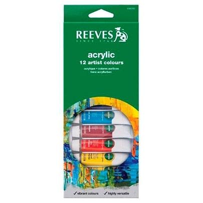 Акриловые краски Reeves Acrylic 12 цветов