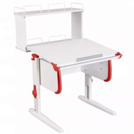 Парта Дэми White Стандарт СУТ-24-01Д1 С задней двухъярусной приставкой Белый/Красный