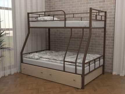 Детская двухъярусная кровать ЧСМФ Раута с ящиками Коричневый, Дуб молочный