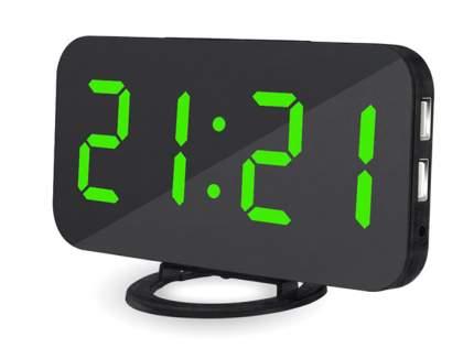 Электронные настольные/настенные зеркальные часы с USB (черный корпус, зеленые цифры)