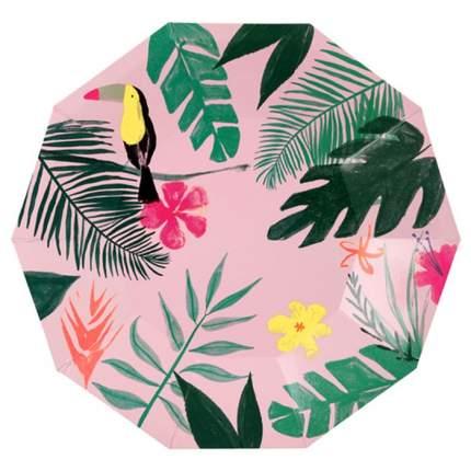 Тарелки розовые Meri Meri тропики большие