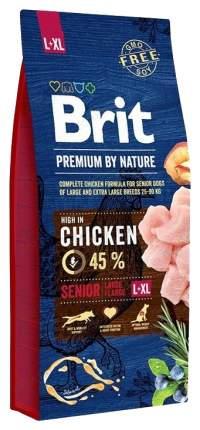 Сухой корм для собак Brit Premium By Nature Senior L+XL, для пожилых, курица, 15кг