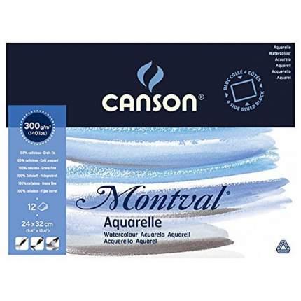 Canson Блок для акварели Montval CANSON, 300г/м2, 24х32см, Фин, склейка 12 листов