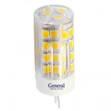 Лампа светодиодная General G4 12V 5W (350lm) 2700K, 45x16мм, пластик, прозрачная, 653200