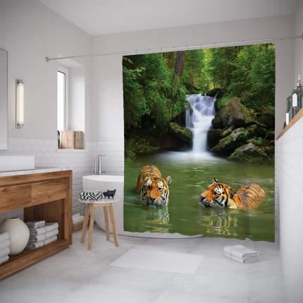 Штора для ванной JoyArty «Тигры прохлаждаются» 180x200