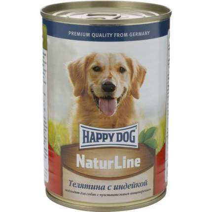 Консервы для собак Happy Dog NaturLine, индейка, телятина, 400г
