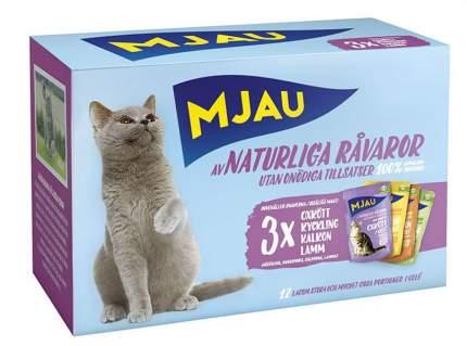 Влажный корм для кошек Mjau Multipack Meatmix, мясное ассорти в желе, набор 12шт по 85г