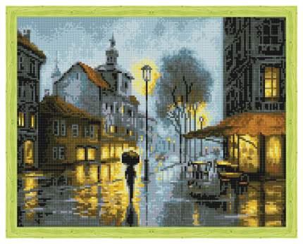 """Алмазная живопись QA202429 """"Дождь в городе"""""""