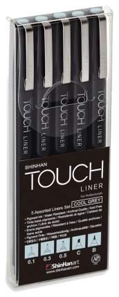 Набор линеров Touch Liner Brush, золодный серый, 0,1, 0,3, 0,5 мм, Сhisel, Вrush, 5 шт