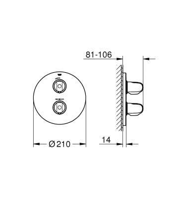 Смеситель для встраиваемой системы Grohe Grohtherm 1000 New 19984000 хром